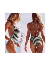 Sexy White&black Stripe Pattern Decorated Bandage Design Chinlon Monokini