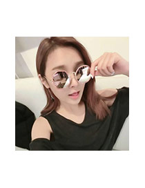Fashion Gray Geometric Shape Decorated Hollow Out Simple Glasses