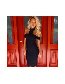 Sexy Black Off-the-shoulder Hang Neck Design Tight Dress