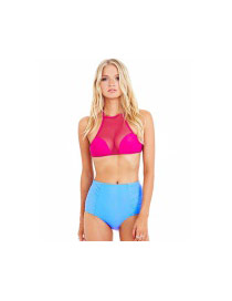 Sexy Plum Red+sky Blue Mesh Color Matching Decorated Simple Monokini