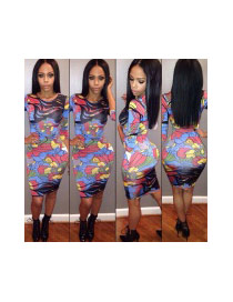 Sexy Multi-color Flower Pattern Decorated Three Quarter Sleeve Tight Dress