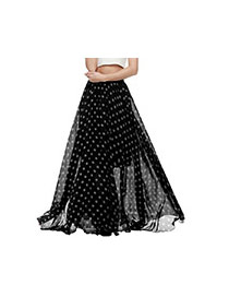Bohemia Black Pure Color Decorated Double Layer Beach Skirts