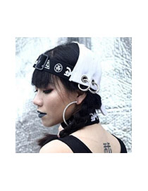 Fashion White Metal Ring Decorated Hollow Out Baseball Cap