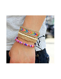 Vintage Multi-color Hemp Rope Weaving Decorated Multilayer Simple Bracelet