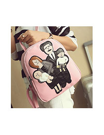 Cute Pink Family Pattern Decorated Pure Color Backpack