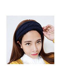 Sweet Sapphire Blue Pure Color Decorated Twist Shape Headband