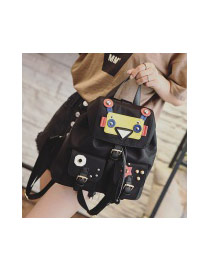 Fashion Black Rivet&cartton Robot Shape Decorated Simple Backpack