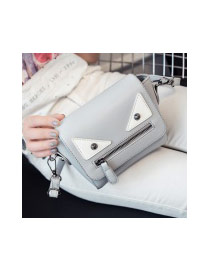 Cute Gray Monster Shape Decorated Pure Color Simple Shoulder Bag