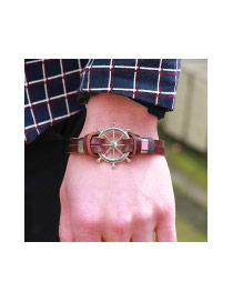 Fashion Coffee Rudder Decorated Double Layer Simple Leather Bracelet