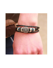 Fashion Coffee Hollow Out Round Shape Decorated Multi-layer Bracelet