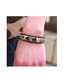 Vintage Coffee Hollow Out Beads Decorated Multi-layer Metal Buckle Bracelet