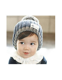 Fashion Gray+black Big Fuzzy Ball Decorated Baby Knitted Hat