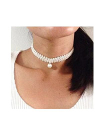 Fashion White Big Pearl Pendant Decorated Short Chain Necklace