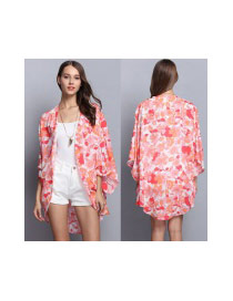 Casual Multi-color Flower Pattern Decorated Three Quaters Blouse