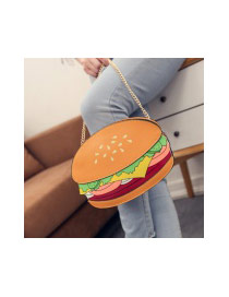 Fashion Multi-color Hamburger Shape Design Long Chain Bag