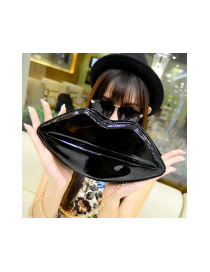 Sweet Black Lip Shape Decorated Pure Color Shoulder Bag
