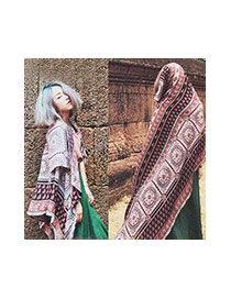 Fashion Multi-color Printing Flower Pattern Decorated Simple Scarf