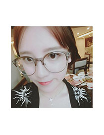 Fashion Black Color Matching Design Round Frame Simple Glasses