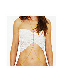 Fashion Blue Cross Shape Decorated Simple Body Chain
