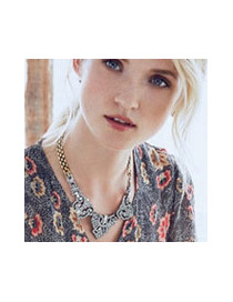 Fashion Gold Color+white Diamond Decorated Hollow Out Irregular Shape Necklace