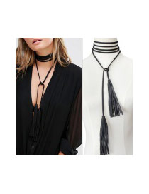 Fashion Black Tassel Pendant Decorated Pure Color Multi-layer Necklace