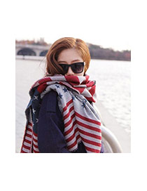 Fashion Multi-color Star Pattern Decorated Color Matching Scarf