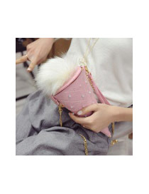 Fashion Blue Fuzzy Ball Decorated Ice Cream Shape Bag
