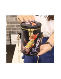 Personality Multi-color Cartoon Pattern Decorated Simple Bucket Bag