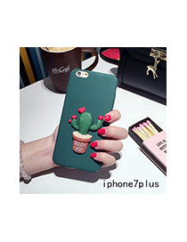 Cute Green+red Cactus Plants Decorated Pure Color Iphone7plus Case