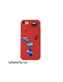 Cute Red Cartoon Vehicle Decorated Pure Color Iphone7plus Case