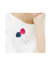 Fashion Red Flower Decorated Pure Color Design Simple Brooch