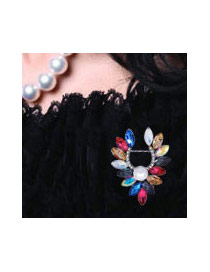 Fashion Multi-color Gemstone&oval Shape Diamond Decorated Color Matching Brooch