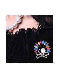 Fashion Multi-color Pearls&diamond Decorated Bowknot Shape Color Matching Brooch