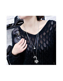 Fashion Silver Color Oval Shape Pendant Decorated Simple Double Layer Necklace