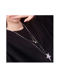 Sweet Silver Color Diamond&star Shane Pendant Decorated Double Layer Necklace