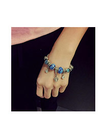 Fashion Blue Crown&beads Pendant Decorated Color Matching Simple Bracelet