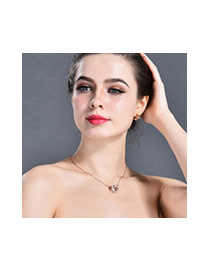 Fashion Black Heart Shape Pendant Decorated Hollow Out Design Necklace