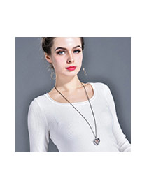 Fashion Rose Gold+white Tree&heart Shape Pendant Decorated Hollow Out Design Necklace