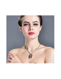 Fashion Rose Gold+white Brid&squareshape Pendant Decorated Simple Necklace
