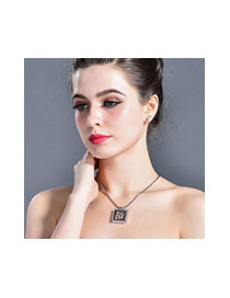 Fashion Rose Gold+white Butterfly&square Shape Pendant Decorated Simple Necklace