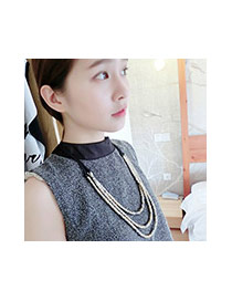 Fashion Gold Color+black Color Matching Decorated Multi-layer Design Necklace
