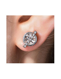 Fashion White Round Shape Decorated Pure Color Simple Earrings