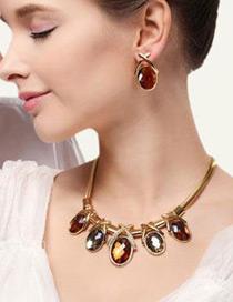 Elegant Blue Oval Shape Gemstone Decorated Simple Jewelry Sets