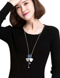 Elegant Silver Color Heart Shape Decorated Simple Long Chain Sweater Necklace