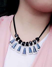 Fashion Sapphire Blue Diamond Decorated Triangle Shape Color Matching Necklace