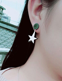 Fashion Rose Gold +black Star Shape Decorated Simple Hollow Out Earrings