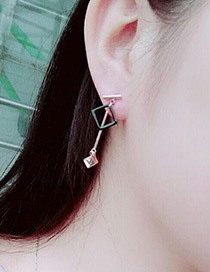 Fashion Rose Gold +black Square Shape Decorated Simple Color-matching Earrings