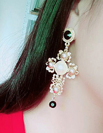 Trendy Gold Color Pearl&diamond Decorated Pure Color Simple Earrings