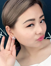 Fashion White Letter H Decorated Square Shape Earrings