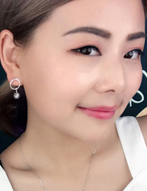 Fashion Silver Color Sun Pendant Deocrated Earrings